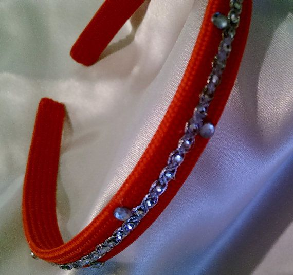 Stunning Headband with Red  Colored  Fabric and Glass by Hairotics, $18.95