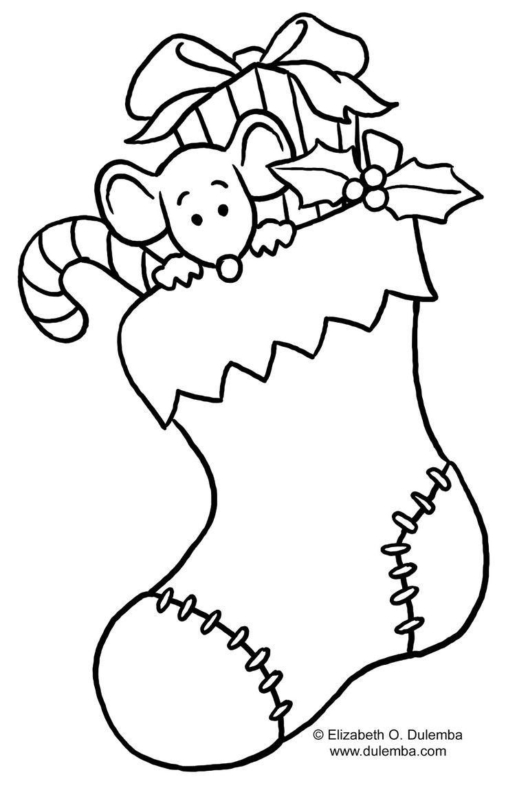 Free online holiday coloring pages - Christmas Stocking Coloring Page For Kids