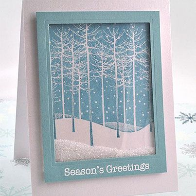 Falling Snow Holiday Shaker Card. need to try this idea with the Lovely as a Tree set.