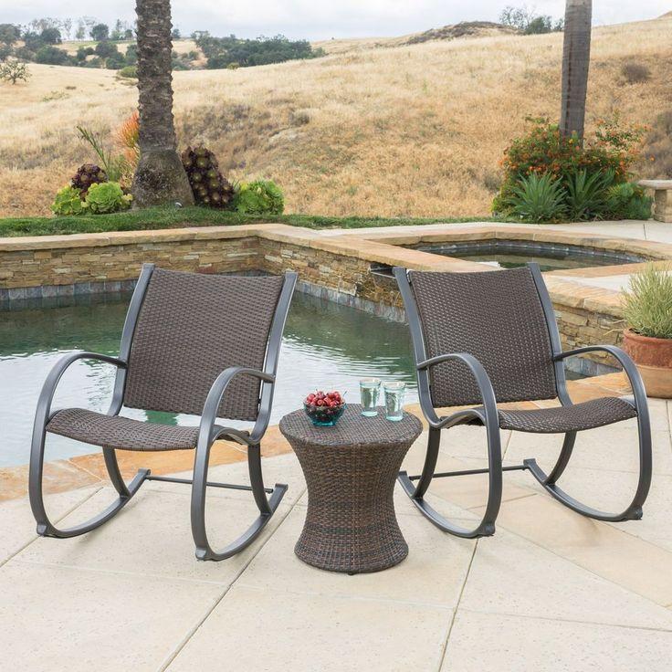 Patio Outdoor Bistro Relax Set Wicker 3 Piece Furniture Durable Aluminium Frame #PatioOutdoorBistroRelaxSetWicker