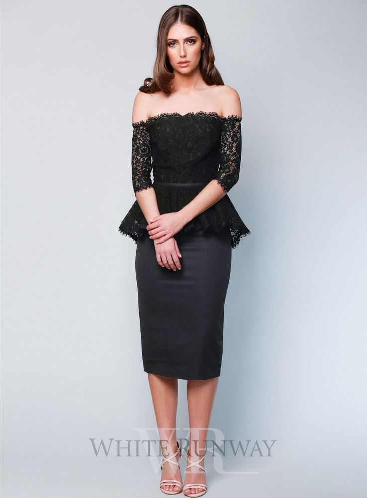 Dominic Dress. A beautiful midi dress by Elle Zeitoune. An off shoulder style featuring a lace bodice and peplum on the waist.