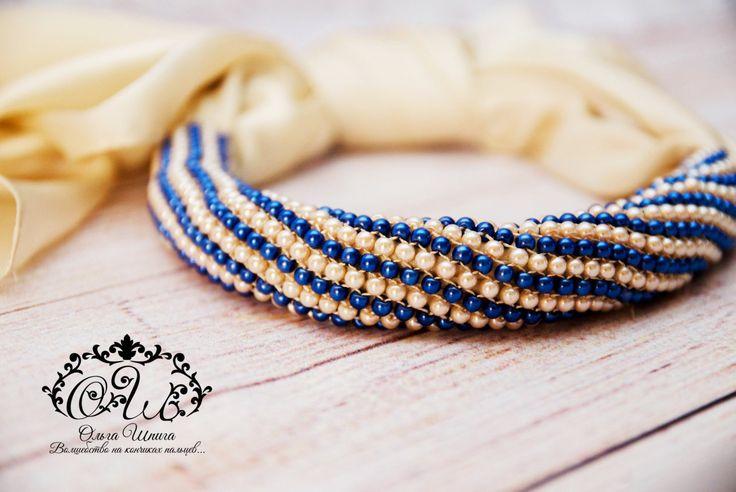 Кремово-синий шарф-трансформер из жемчуга майорка by Fawnmagic on Etsy