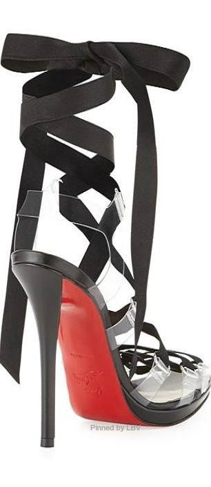 ~Christian Louboutin Nymphette Satin Lace-Up Sandal | The House of Beccaria