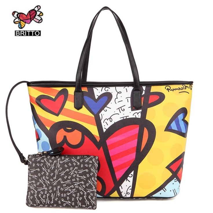 RMERO BRITTO New Realer Brand Printed Leather Bags Vintage Handbags Womens Medium Big Tote Bags Female Graffiti Bags for Women