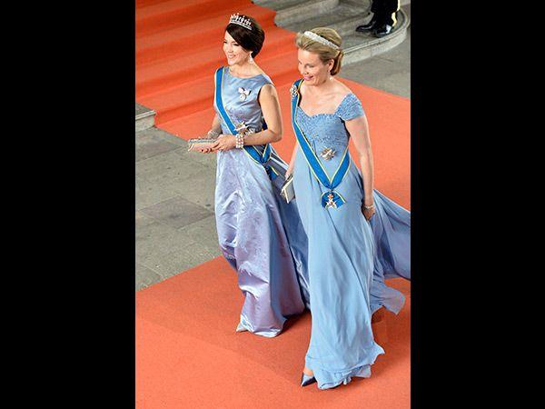 Kronprinzessin Mary von Dänermark und Königin Mathilde von Belgien (Quelle: EPA/Henrik Montgomery)