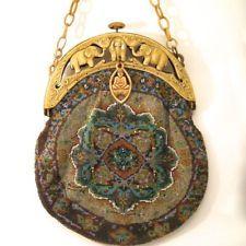 Micro Beaded Purse Vintage Antique Geometrice Bag Handbag Celluloid Frame