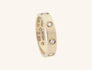 Cartier wedding ring, wedding ring, yellow gold wedding ring, diamond wedding ring