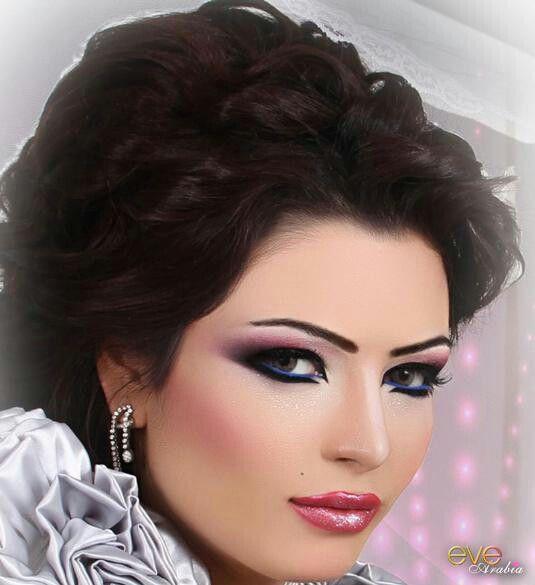 Rosey Arabic / Gulf ( Khaleeji ) Makeup + Blue eye liner ...