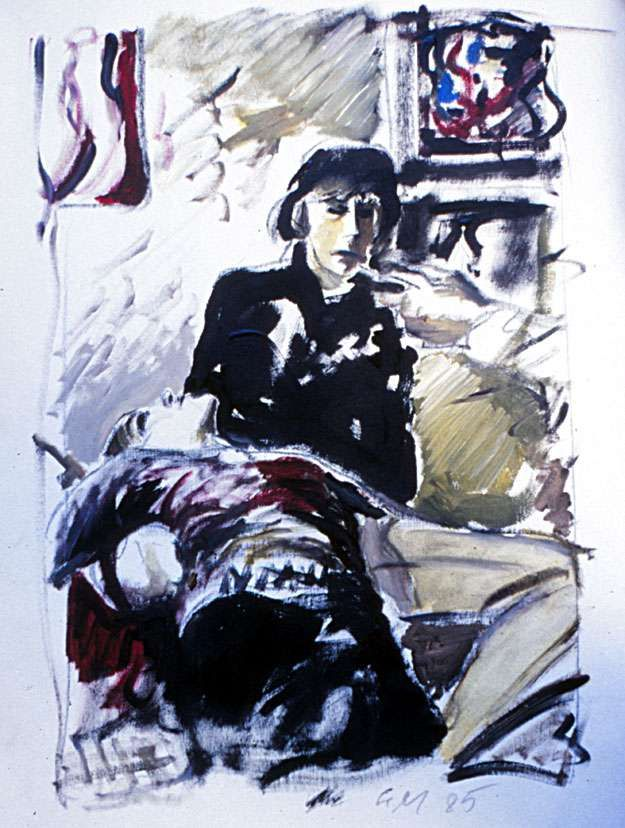 two in a room, mixed media on canvas sheet