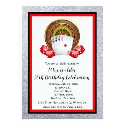 Glitter Casino Las Vegas 50th Birthday Invitation - glitter gifts personalize gift ideas unique