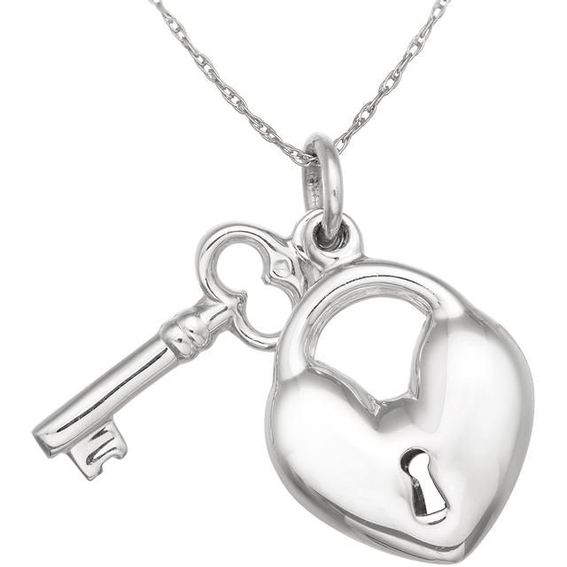 Tiara Sterling Silver Heart Lock and Key Pendant
