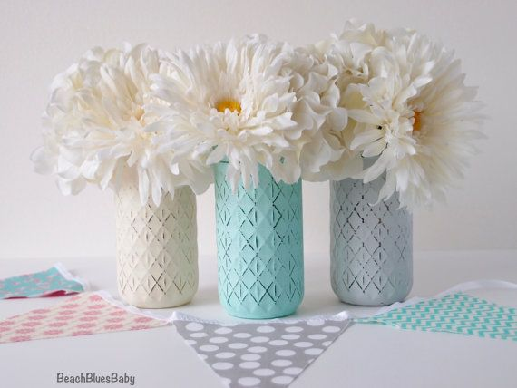 Baby Shower Centerpiece Vase Painted Mason Jar By BeachBluesBaby