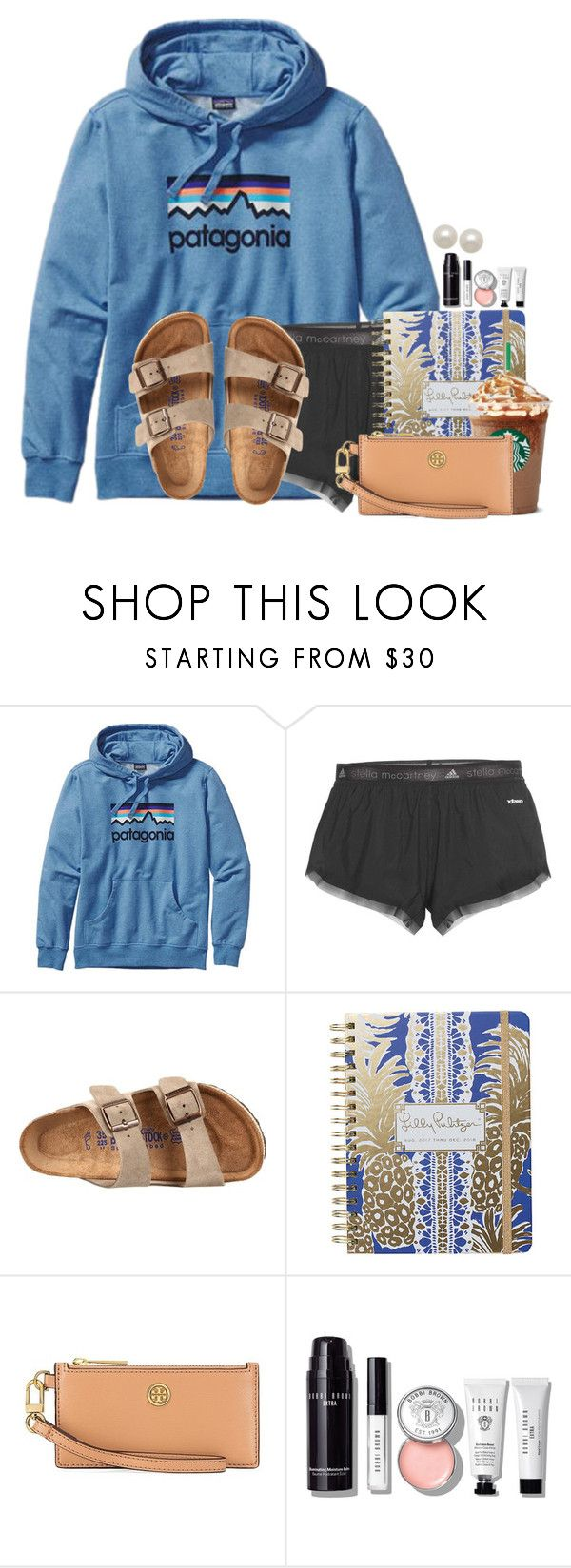 """Im exhausted..."" by annaewakefield ❤ liked on Polyvore featuring Patagonia, adidas, Birkenstock, Lilly Pulitzer, Tory Burch, Bobbi Brown Cosmetics and Honora"