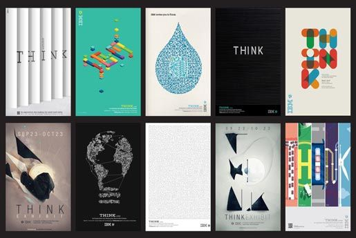 Kampania IBM pt. Think. Połączenie sztuki, designu, nauki oraz najnowszej technologii. Kampania zdobyła wiele nagród, m.in.  Gold at the London International Awards. Kampanii towarzyszyła wystawa plakatów w New York's Lincoln Center. Plakaty rozwieszono także na ulicy, i w metrze w NY. Powstałe prace to prawdziwe perełki grafiki i niestandardowej typografii. Więcej przykładów prac: http://theinspirationroom.com/daily/2012/ibm-invite-you-to-think/
