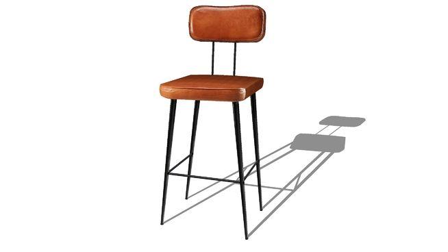 Clapper Chaise de bar en cuir de chèvre marron et métal noir ref 165710 prix 150.00€ - 3D Warehouse