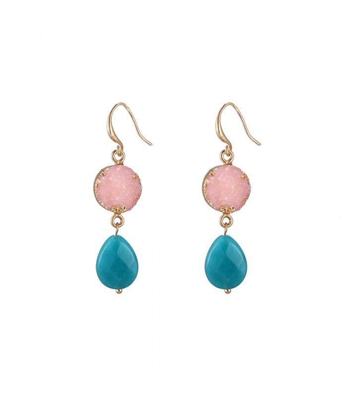 Gekleurde mooie oorbellen met kleurrijke stenen|Mooie oorhangers koop je online | Yehwang fashion en sieraden