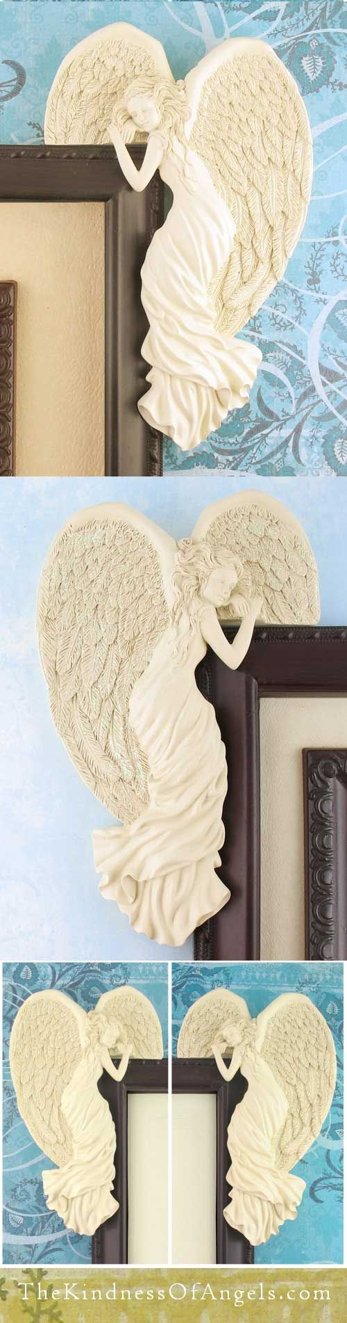 These corner angels make a lovely accent for your home, and are a comforting reminder as well that angels are watching over you. Part plaque and part figurine, these Corner Angels are designed to grace your doorway, window, mirror or large picture frame with a special reassuring touch. They have a classic beauty and are gracefully posed in long flowing robes, with realistic detailing and finely feathered wings that shimmer softly with tiny iridescent sparkles.