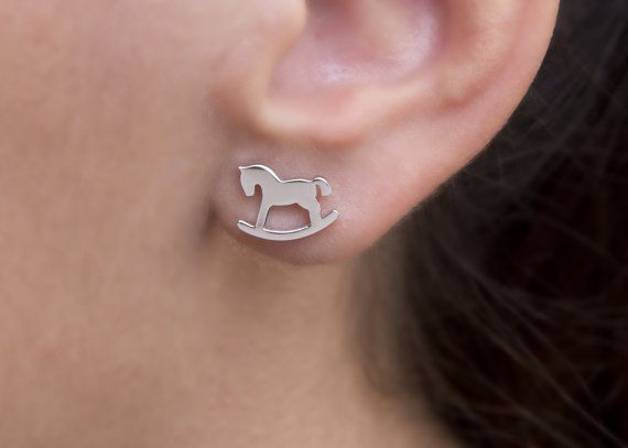 Horse Earrings Tiny Horse Silver Earrings Rocking by Wavejewels