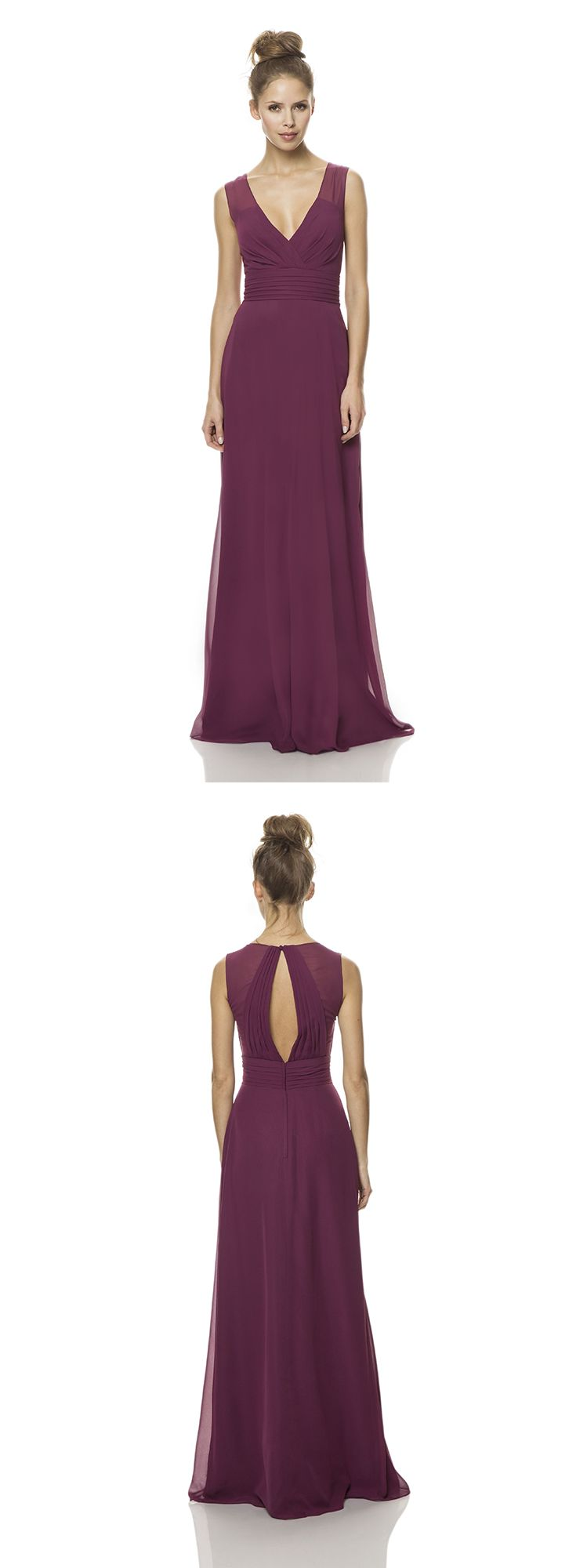 A stunning long chiffon bridesmaid dress with classic v-neckline.