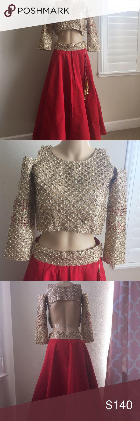 "Indian Pakistani party wear dress Bust:- 31 1/2"", Length:- 14"" waist :- 27"" sleeve:- 16"".  Skirt is 40"" length waist is 30"" Dresses Wedding"