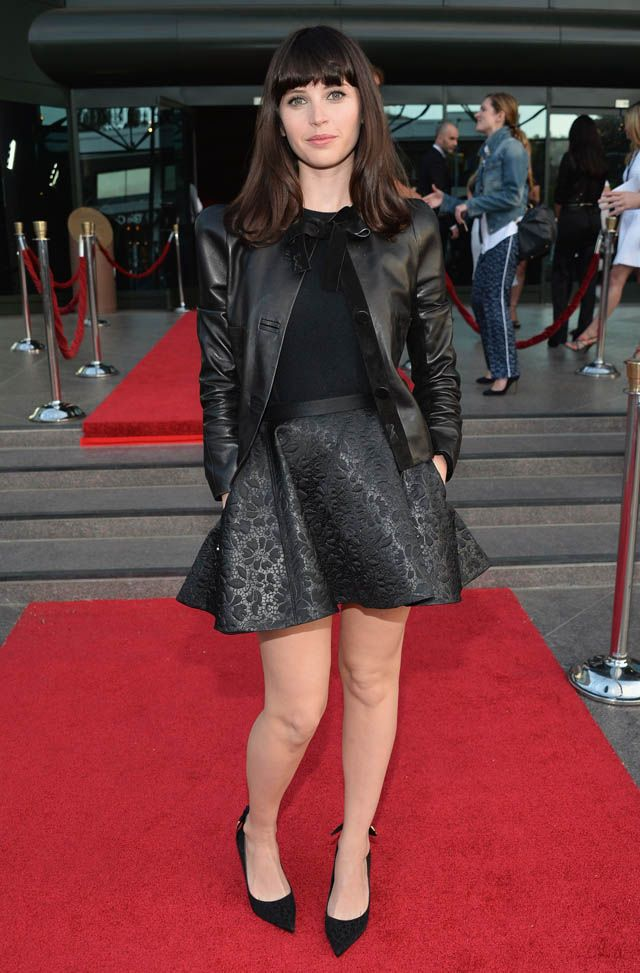 "Actress Felicity Jones arrives to the Los Angeles premiere of A24's ""The Bling Ring"" at the Directors Guild Theater on June 4, 2013 in Los Angeles, California.  (Photo by Alberto E. Rodriguez/Getty Images)"