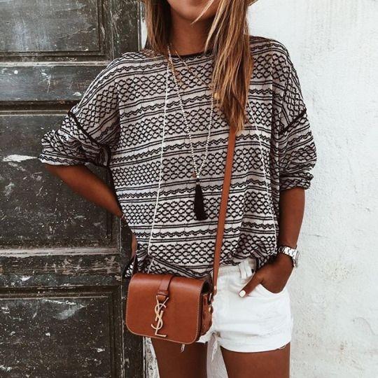 tassel necklace, pattern sweater, & YSL (classic white shorts no fringe)