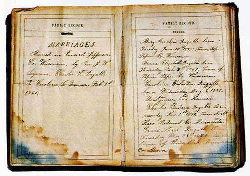 Ingalls family records in Charles Ingalls bible..Bible can be viewed at the Laura Ingalls wilder museum in mansfield missouri