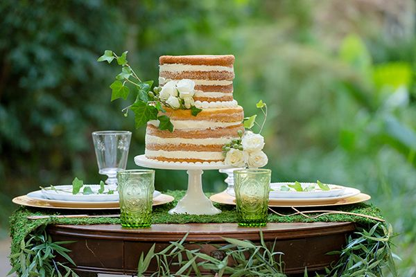 Natural Organic Wedding Cake Table | Emily Chappell Photography | Bohemian Garden Wedding Inspired by Fine Art