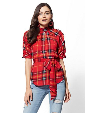 b119a6c1 Shop 7th Avenue - Red Plaid Mock-Neck Blouse. Find your perfect size online  at the best price at New York & Company.