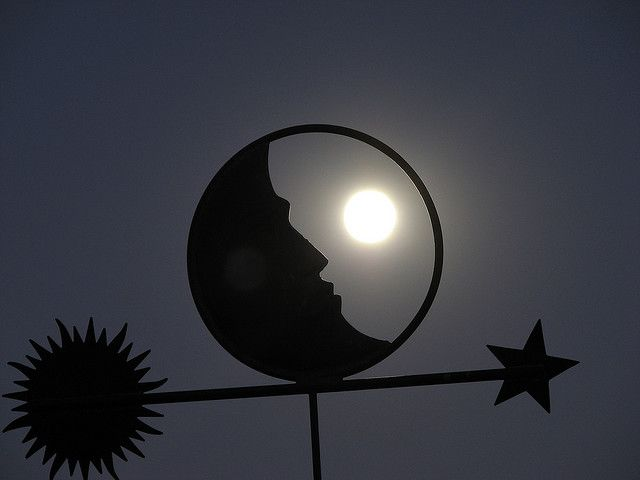 Weather vane    Image of the moon shot through the weather vane.