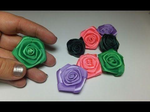 DIY. flores hermosas para decorar lazos del cabello paso a paso. Flores cinta raso - YouTube