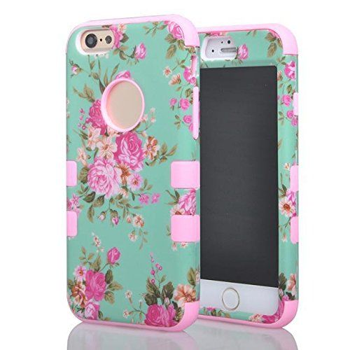 (Case for Iphone 6/4.7 inch) Bon Venu 3 in 1 Armor Defender Triple Layer Hybrid Camo Hybrid Rubberize Soft TPU Back Skin Case Cover Beautiful Orchid Pattern Skin Protector Case Cover for Apple iPhone 6 4.7 case+Screen Protector (Pattern 2)