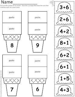 Math Scoops! Addition and Subtraction ice-cream scoops up to 20! (Color, Cut and Paste!)