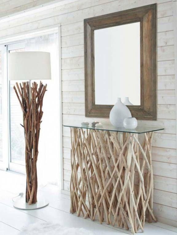 Декор из сухих веток - тумба под зеркало и ножка торшера