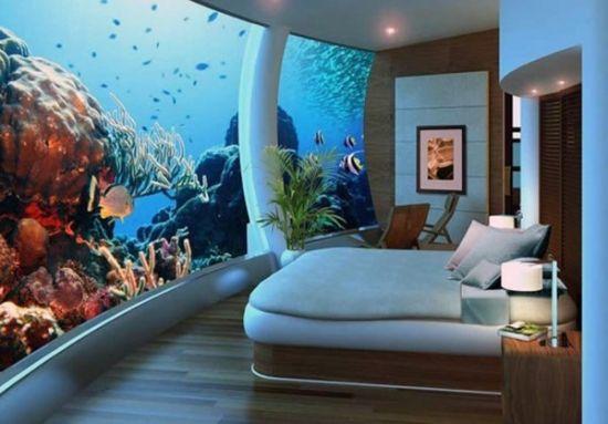 Dormitor cu perete acvariu