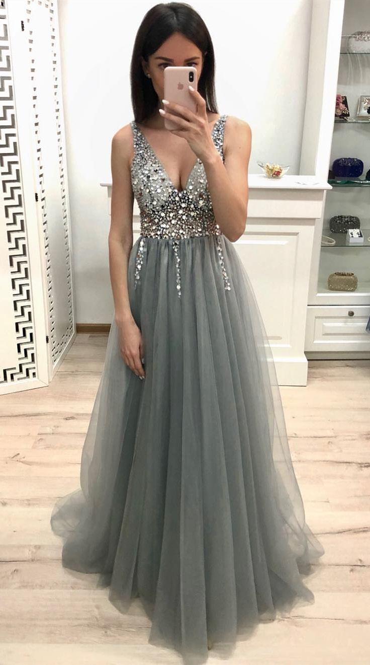 atemberaubende Kristall lange Ballkleider, atemberaubende Perlen Abendkleider, Mode grau ev …   – XV