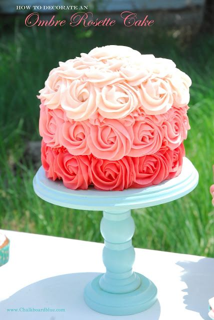 www.Chalkboardblue.com: How to Make an #Ombre Rosette Cake