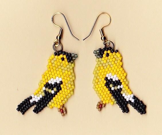 Beaded Gold Finch Earrings | NativeWorksJewelry.com
