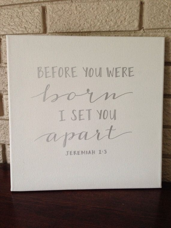 Hand Lettered Bible Verse Nursery Canvas by AETLetteringShop