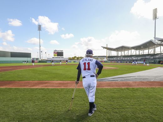 Fort Myers, Fla.: USA manager Jim Leyland watches his