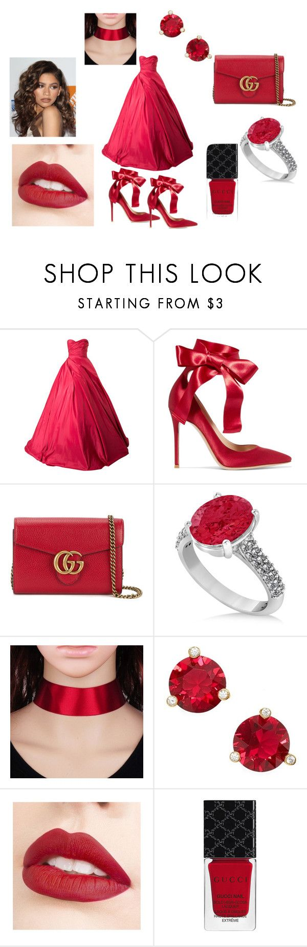 """""""Dramatic Rose"""" by outfit-creator ❤ liked on Polyvore featuring Romona Keveža, Gianvito Rossi, Gucci, Allurez, Kate Spade, Jouer and Coleman"""