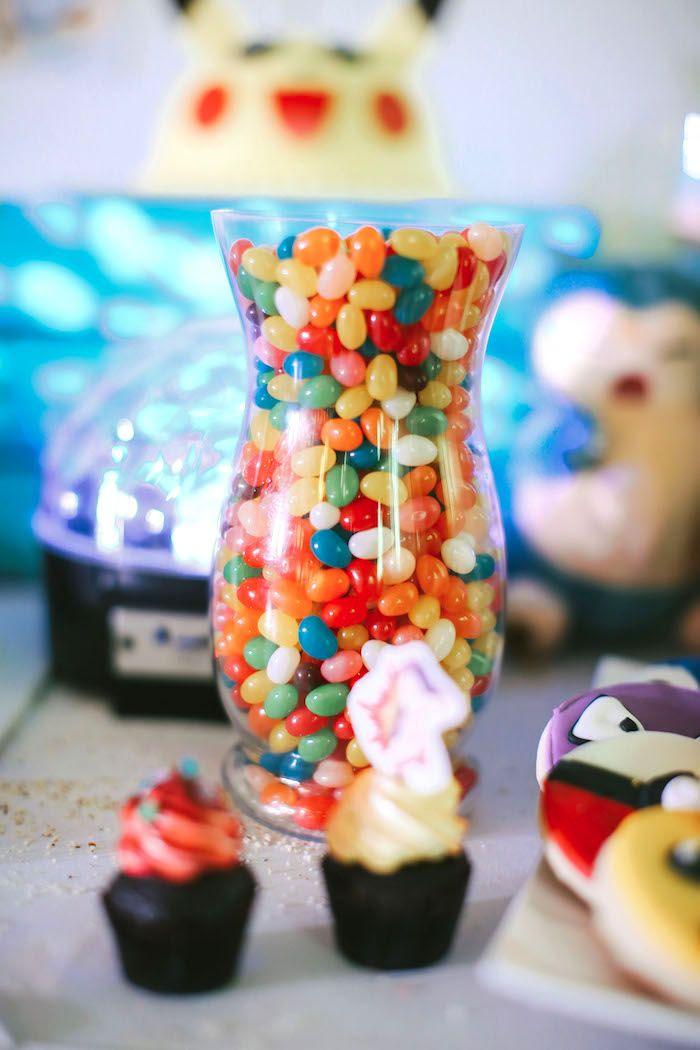 Jelly bean jar from a Pokemon Beach Birthday Party on Kara's Party Ideas | KarasPartyIdeas.com (14)