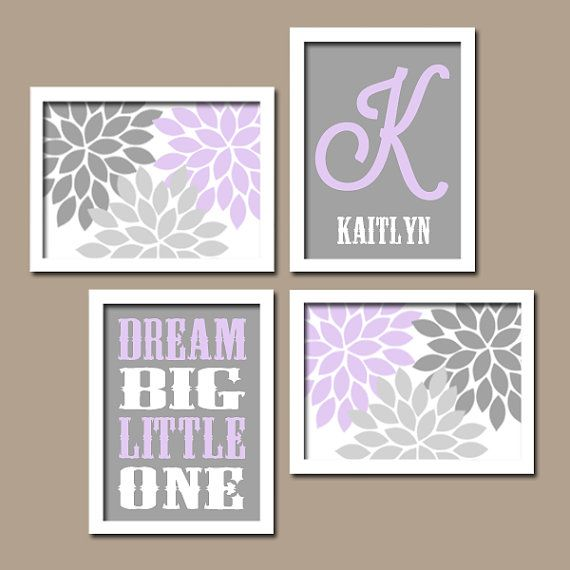 Wall Art For Nursery Ideas : Lilac gray nursery baby girl wall art canvas or prints