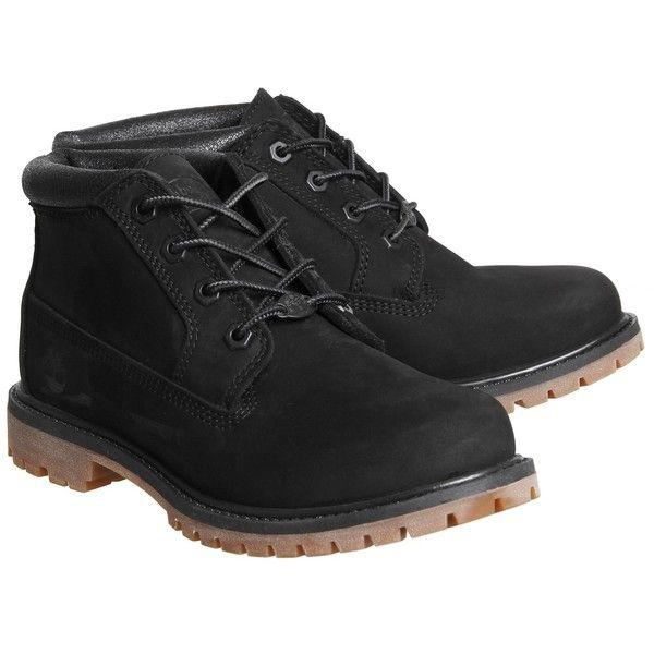 Timberland Nellie Chukka Double Waterproof Boots Black Nubuck Metallic... ($170) ❤ liked on Polyvore featuring shoes, boots, black chukka boots, waterproof shoes, black waterproof boots, black boots and timberland boots