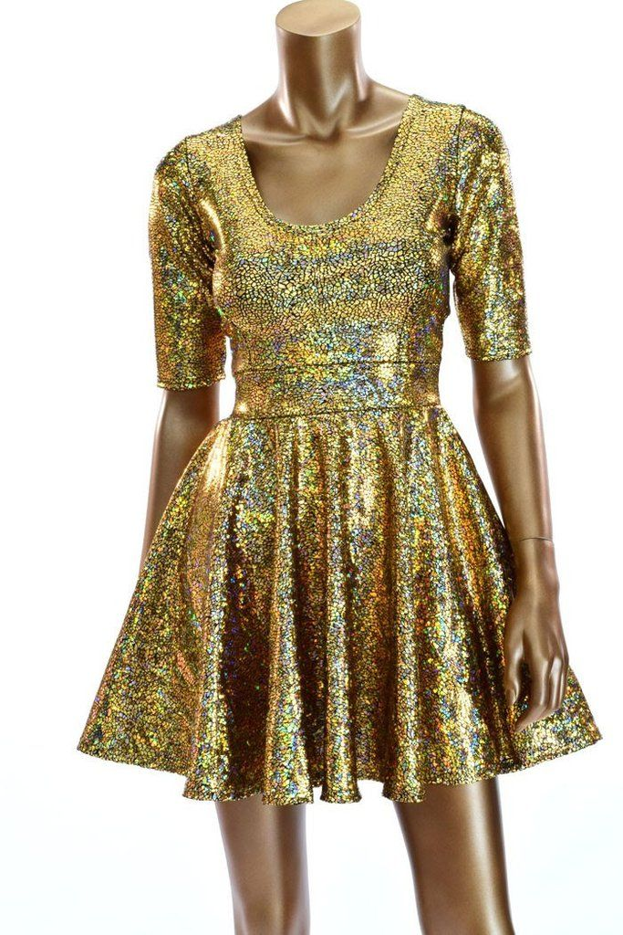 a4a08a40ecf Gold Holographic Half Sleeve Skater Dress in 2019