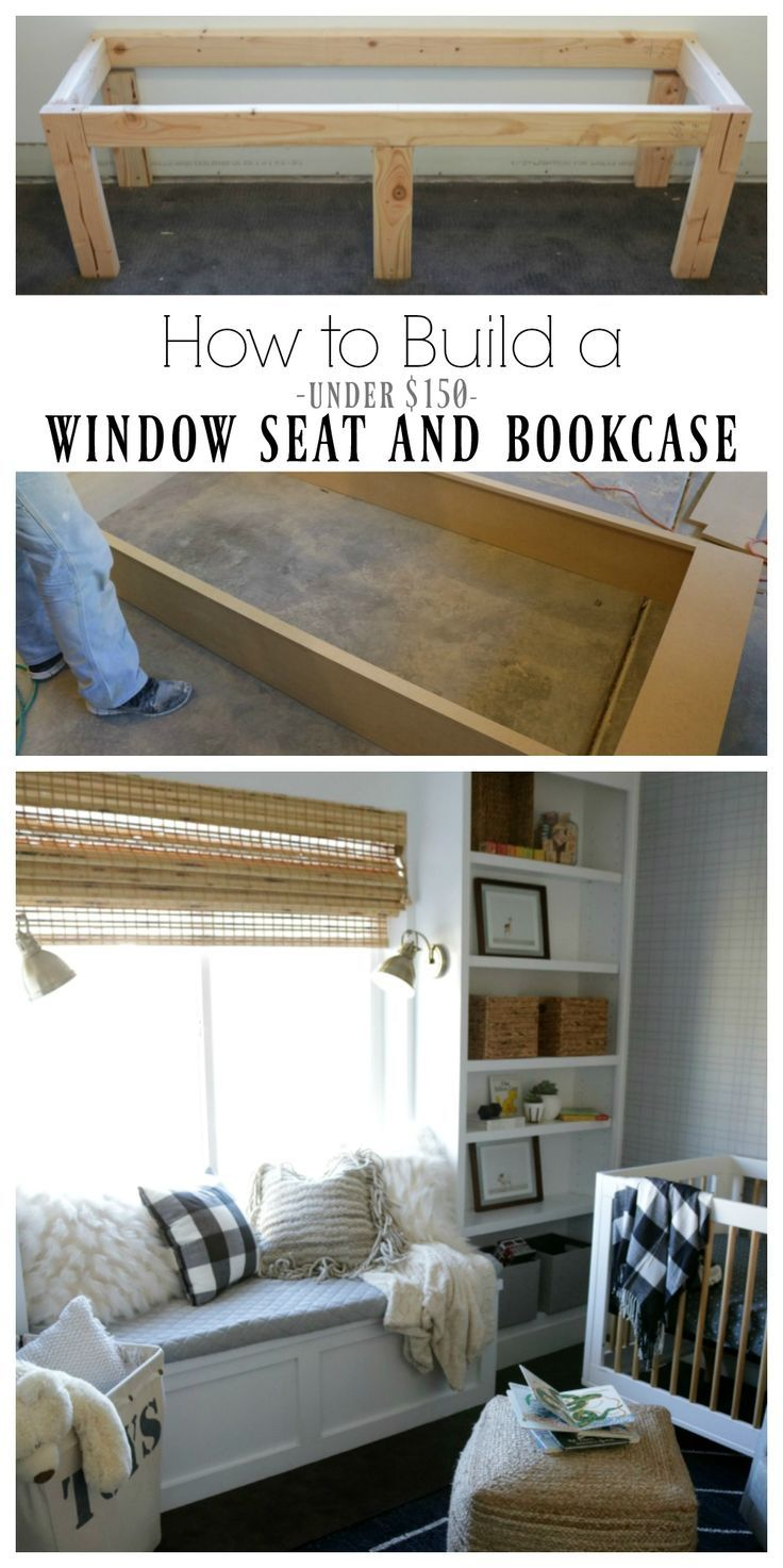 How to Build a Window Seat and Bookcase under $150 #windowseat #diytutorial #babynursery #nestingwithgrace #ad