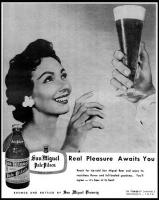 vintage poster of the nation's #1 selling beer that even Filipinos who lived overseas are craving for San Miguel Beer(Paraluman is the poster girl for this ad)