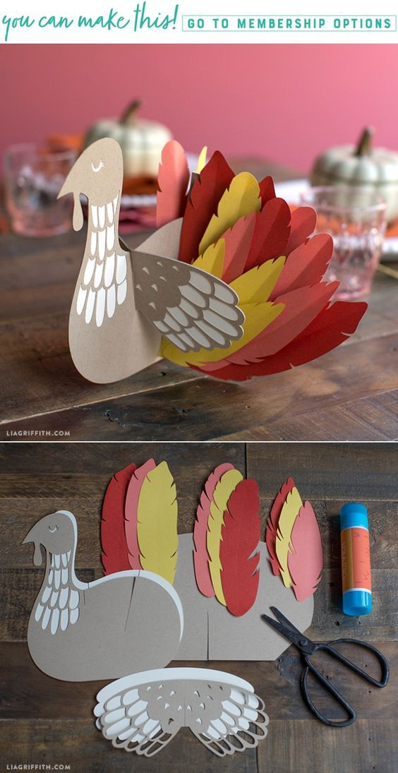 DIY Paper Turkey Table Decor - www.LiaGriffith.com #thanksgivingdiy #thanksgiving #papercraft #kidscraft #paperturkey #DIYTurkey
