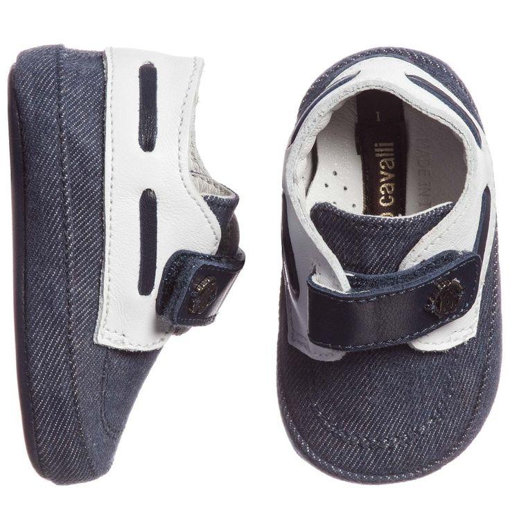 Roberto Cavalli - Baby Boys Blue Denim Pre-Walker Shoes | Childrensalon