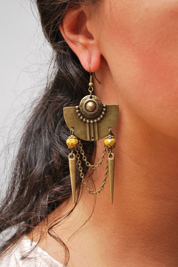 Aztec earrings Inca earrings Ethnic jewelry Aztec by Estibela